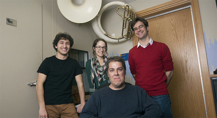 Frank Russo and members of his research team at Ryerson University's SMART Lab. Picture courtesy of SMART Lab