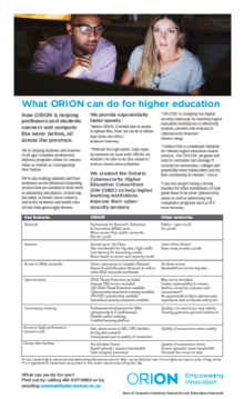 What ORION can do for higher education
