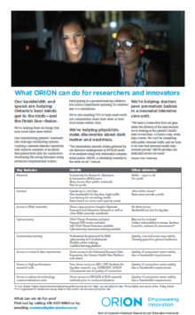 What ORION can do for researchers and innovators