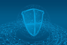 A cybersecurity shield graphic
