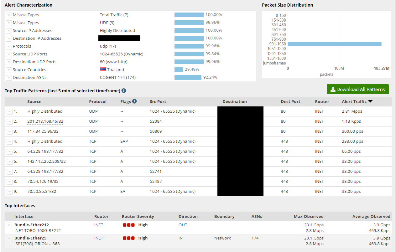 A screenshot of DDoS Report