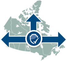A map of Canada with a shield image and arrows stretching over it.
