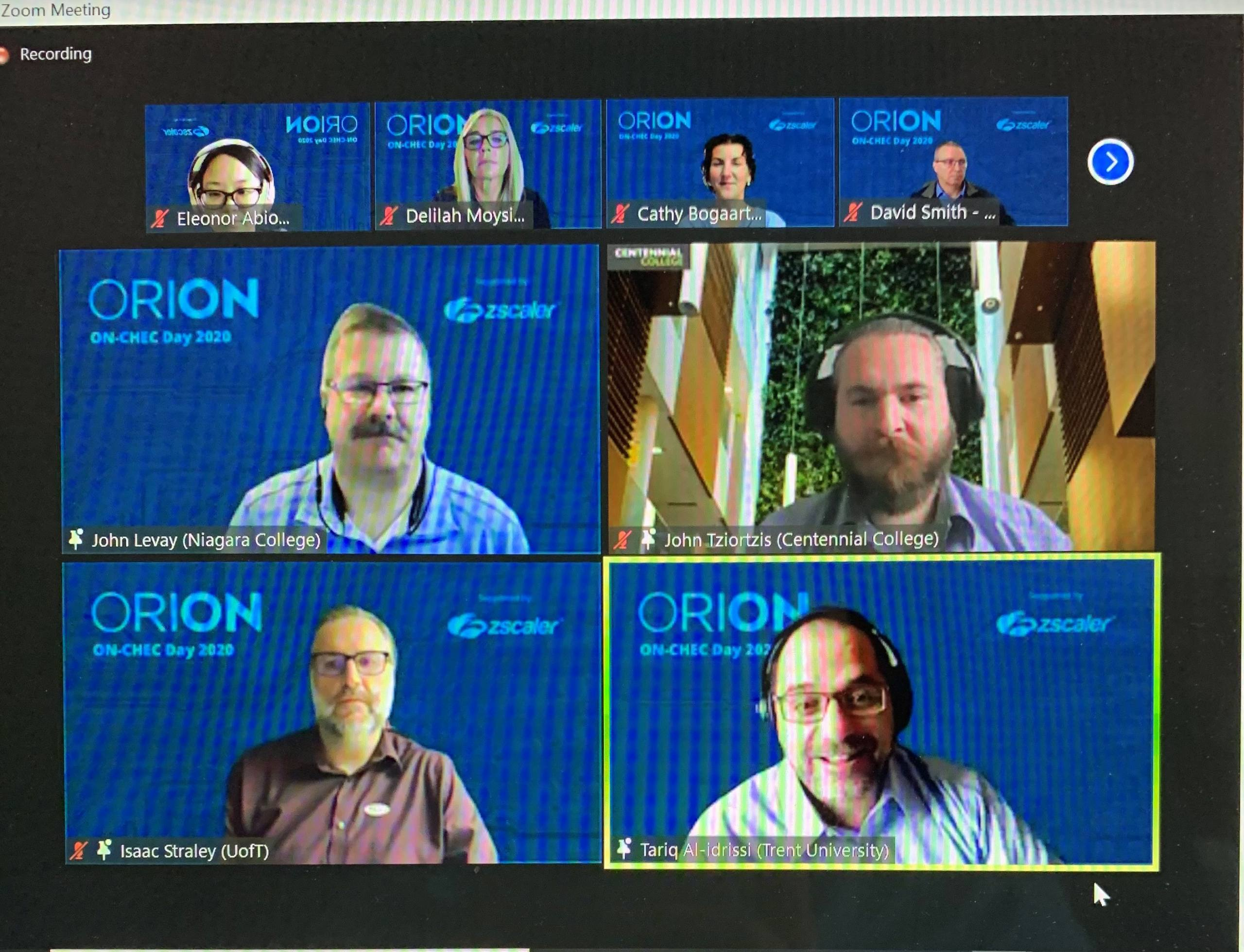 A picture of a Zoom session from ON-CHEC Day