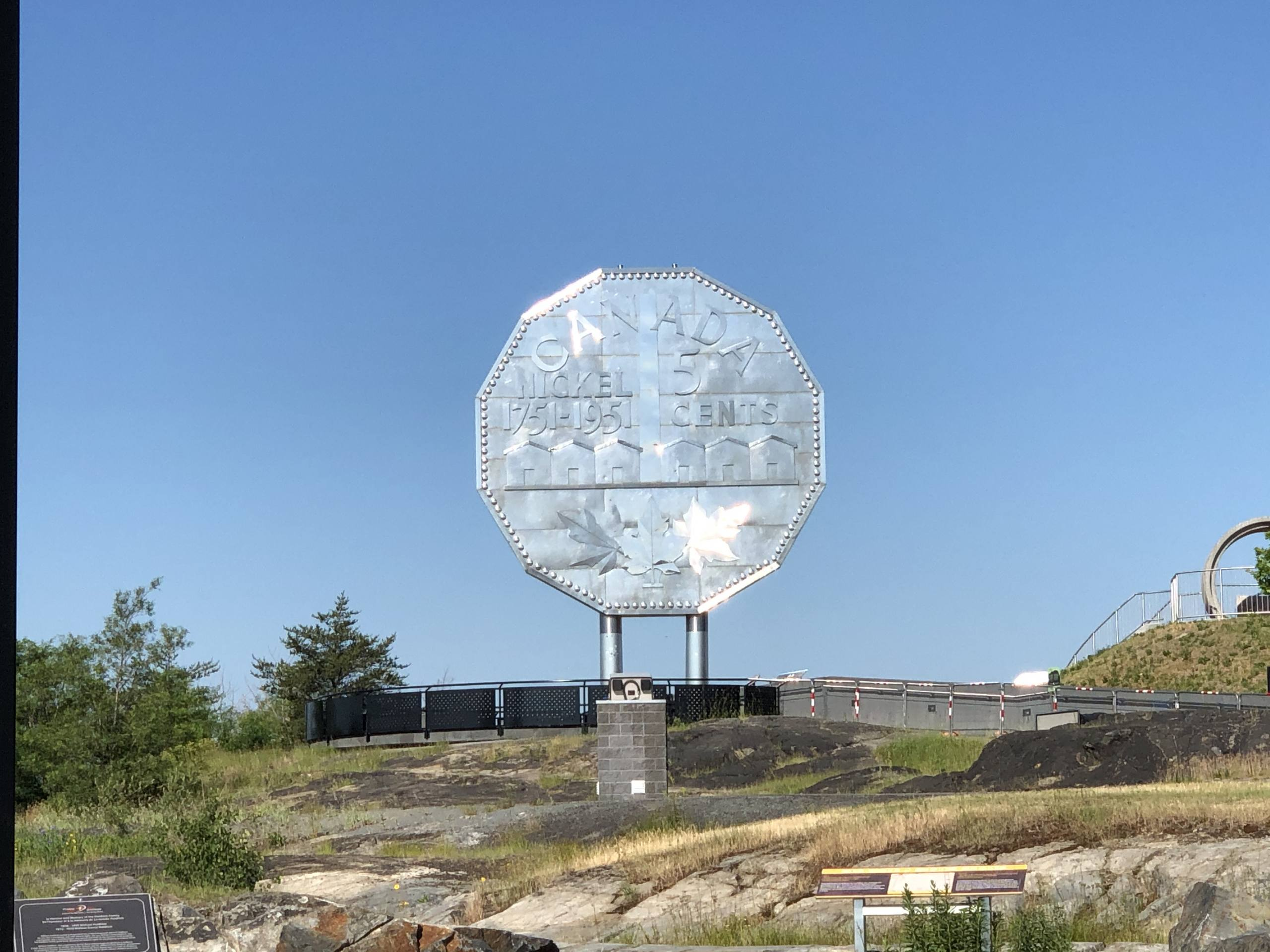 A picture of the famous giant Nickel coin in Sudbury, Ontario