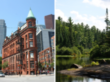 A double image of Downtown Toronto and Algonquin park