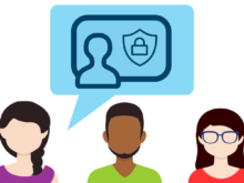 A picture of three people with a speech bubble discussing the idea of cybersecurity