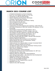 CodeRed Full Course List March 2021 Thumbnail
