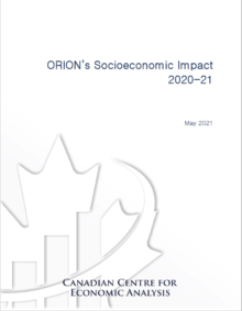 Report cover for ORION socioeconomic impact 2020-21 by CANCEA